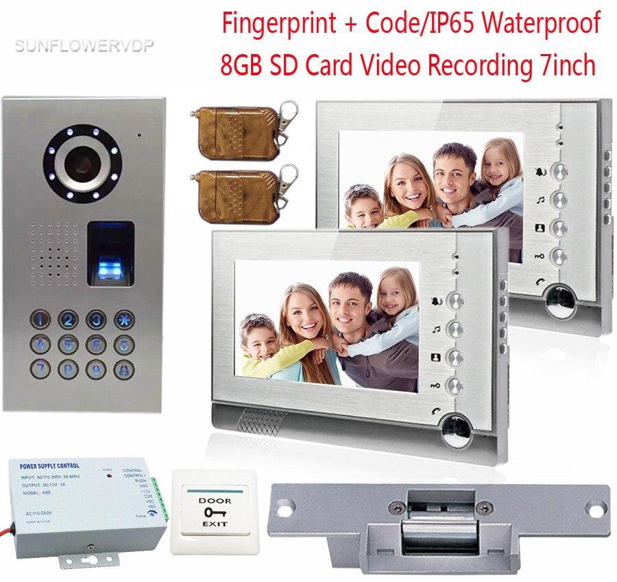 Отпечатков пальцев видео домофон 2 Мониторы 8 ГБ SD карты Запись видеодомофоны IP65 Водонепроницаемый товара с электронным замком 7 дюймов