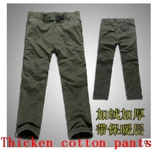 Plus Size Winter Double Layer Thick Men's Cargo Pants Warm Baggy Pants Cotton Trousers For Men Male Military Camouflage Tactical