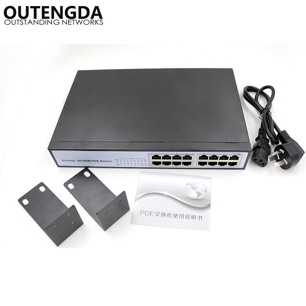 16 RJ45 10 / 100M 16 puertos Conmutador POE No administrado Montaje en rack Conmutador sobre Ethernet Conmutador incorporado Interruptor de red CCTV de 150 W