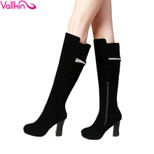 Black 2016 Square High Heel Over The Knee Boots Autumn Winter Boots Western Style Women Shoes Sexy Fashion  Boots Size 34-40