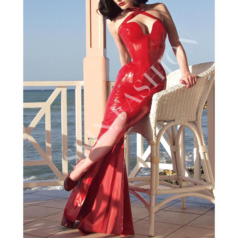 Buy Free shipping !! Women red sexy evening party latex dresses slim garments