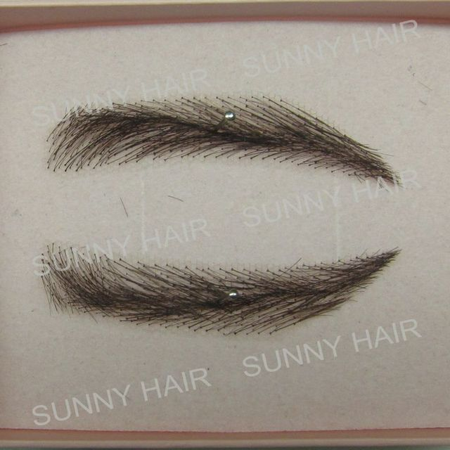 EB014 invisible swiss lace relastic hand made human hair false eyebrow black 1B color 2