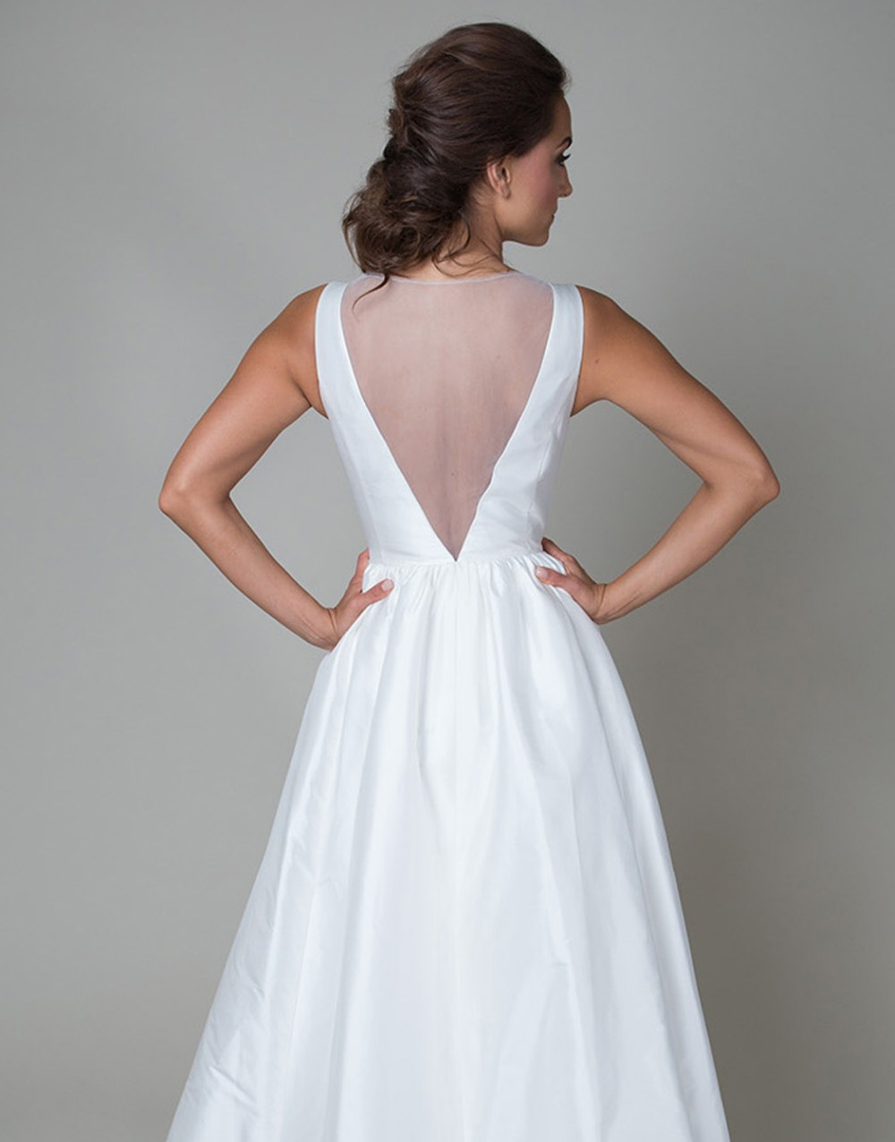 Vintage long white summer boho beach wedding dress with pockets 2015 v neck see through bridal gowns vestidos de noiva UD-442 5