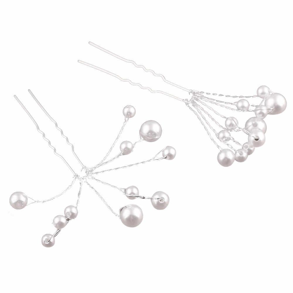OTOKY 5 pièces mariage mariée demoiselle d'honneur perle fleur casque épingle à cheveux tête en épingle à cheveux chaîne bijoux de cheveux May23