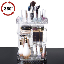 Fashion Brands Transparent Acrylic 360-degree Rotating Makeup Organizer Case DIY Detachable Cosmetics Jewelry Storage Box