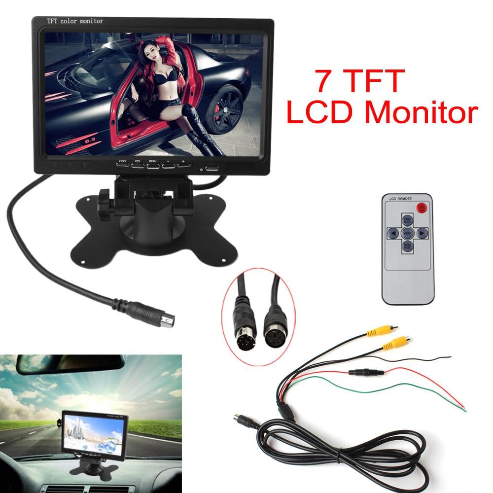 7 אינץ 'צבע TFT LCD12V רכב צג אחורי צפה משענת הראש עם 2 ערוצים קלט וידאו עבור DVD VCD היפוך מצלמה נוף אחורית