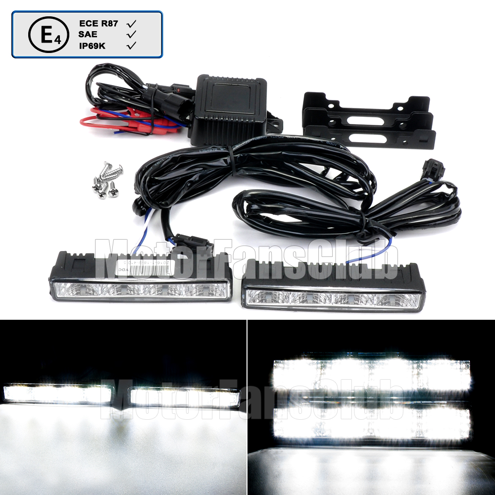 ФОТО 2x Universal 4 LED Daytime Running Light Bar Car Fog Light Super Bright E mark