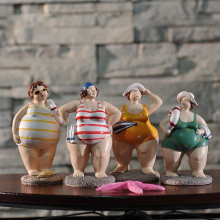 1PC Resin Bikini swimsuit Fat Woman Figurine Mediterranean Style Creative Doll People Home Room Decor Gifts