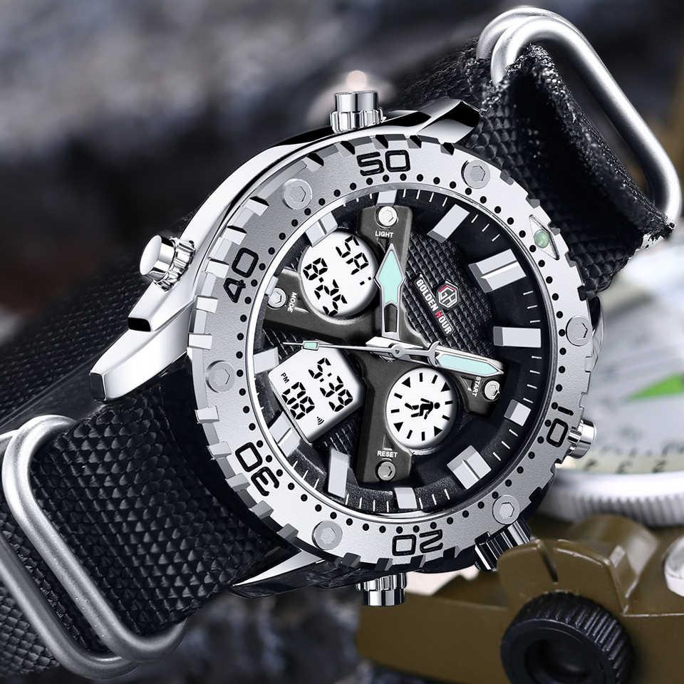 นาฬิกาข้อมือ GOLDENHOUR แฟชั่นกลางแจ้งกีฬานาฬิกาผู้ชายกองทัพทหาร Analog Digital Dual Display เงินชายนาฬิกา