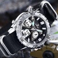 GOLDENHOUR Fashion Outdoor Sports Men Watch Army Military Canvas Analog Digital Wristwatch Dual Display Silver Case Male Clock
