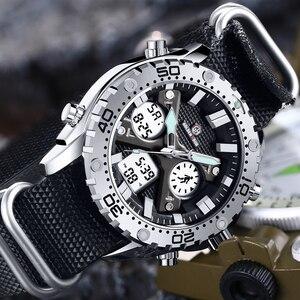Image 1 - GOLDENHOUR montre bracelet pour hommes, montre bracelet analogique en toile, numérique à double affichage, étui en argent, à la mode Sports de plein air, style militaire