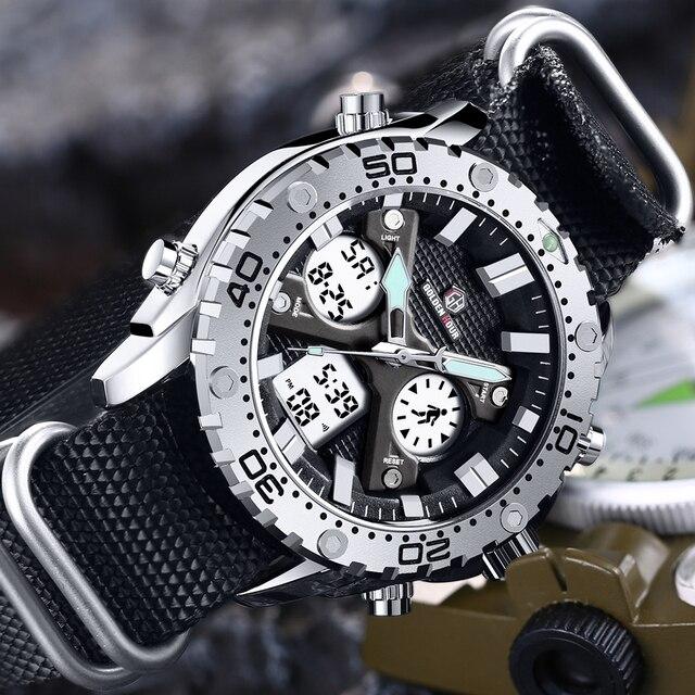 GOLDENHOUR montre bracelet pour hommes, montre bracelet analogique en toile, numérique à double affichage, étui en argent, à la mode Sports de plein air, style militaire