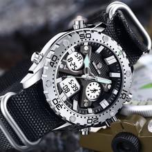 Модные мужские часы GOLDENHOUR для спорта на открытом воздухе, армейские, военные, холщовые, аналоговые, цифровые наручные часы, двойной дисплей, серебристый чехол, мужские часы