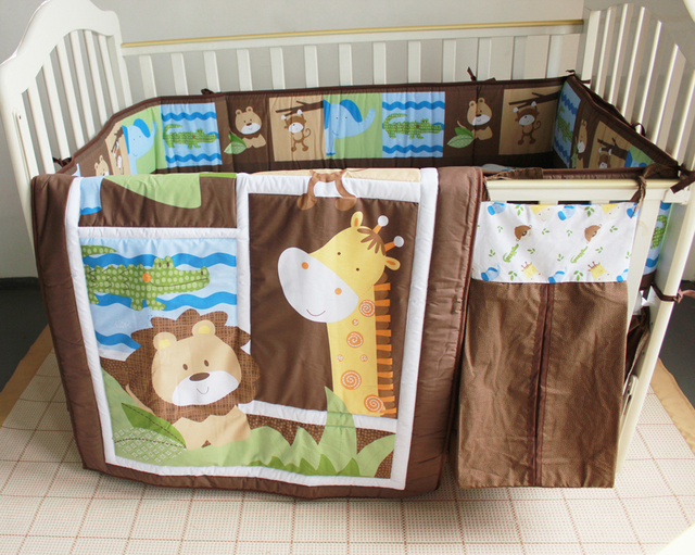 Promotion! 5pcs embroidered 100% cotton kids baby crib bedding set ,include(bumper+duvet+bed cover+bed skirt+diaper bag)