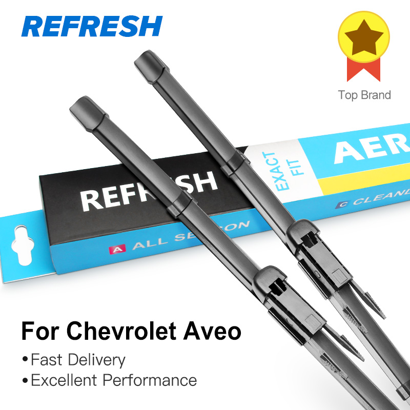 REFRESH Wiper Blades for Chevrolet Aveo Fit Hook Arms / Pinch Tab Arms Model Year from 1995 to 2018