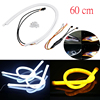 2pcs 60cm Car Auto Amber White Sequential Flow Strip LED Flexible DRL Turn Signal Headlight Switchback