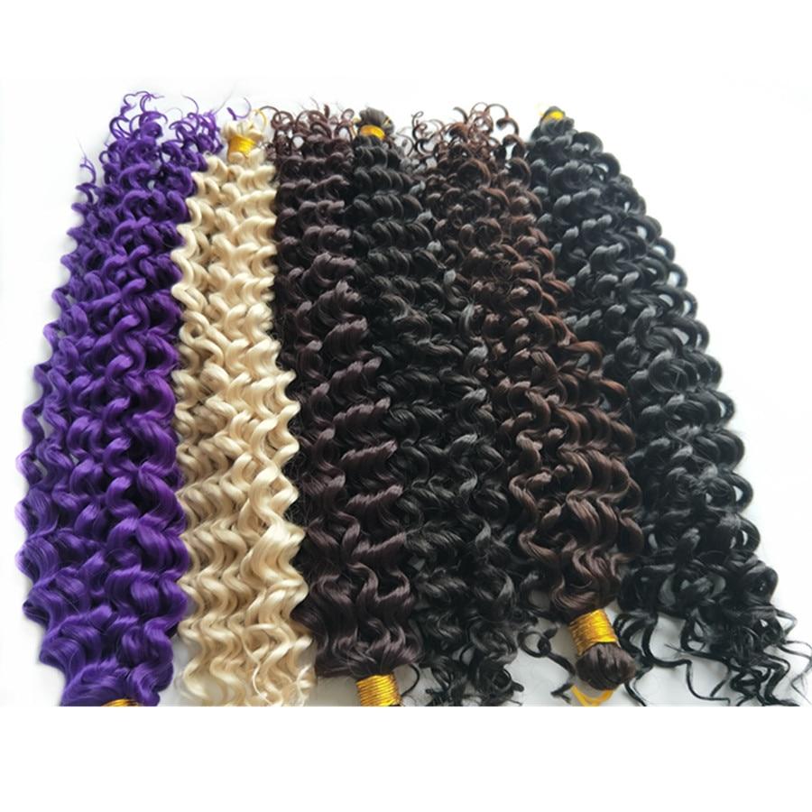 Pervado Hair 16inch 100g Synthetic Water Wave Crochet Braids Hair Extensions One Piece Bohemian Braiding Bulk Hair Grey Brown