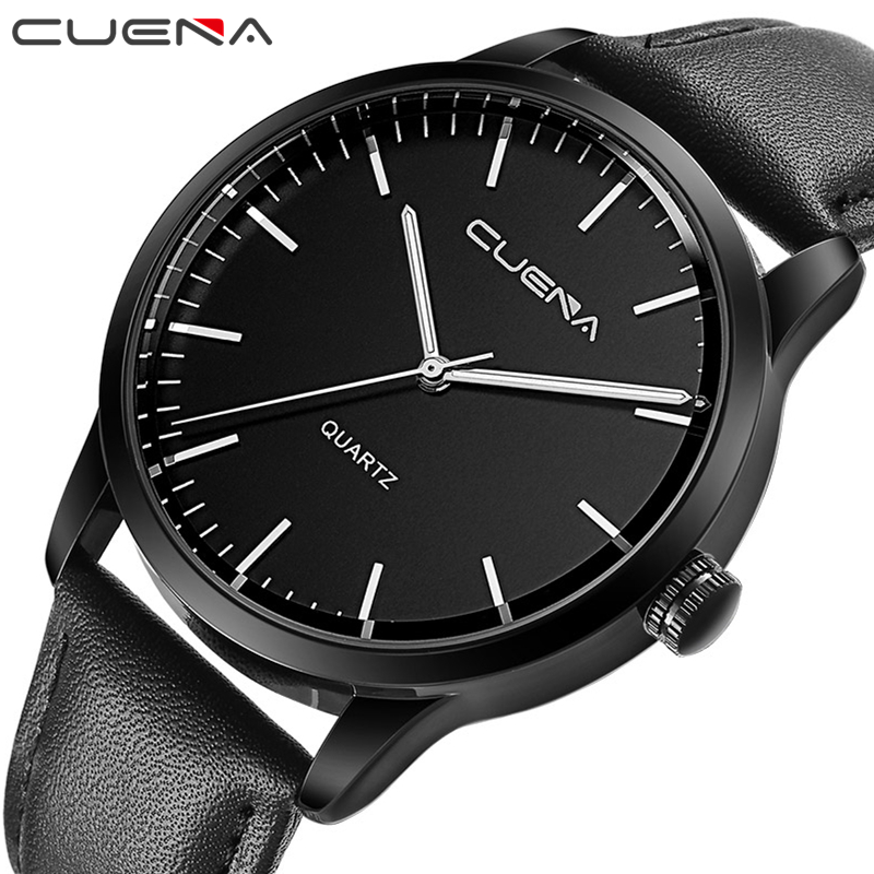 CUENA Fashion Man Clock Mens Watches Top Brand Luxury Quartz Watch Genuine Leather Wristwatches 30M Waterproof Relogio Masculino cuena quartz watches men luxury brand stopwatch luminous hands genuine leather strap 30m waterproof clock man fashion watch 2018 page 1