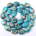 FREE SHIPPING 10x14MM OVAL SHAPE BLUE IMPERIAL JASPER SPACER BEADS STONES FOR DIY NECKLACE BRACELET JEWELRY MAKING STRAND 15""