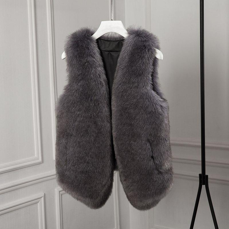 Oblique Fourrure Gris Mode Haute kaki Fausse Renard Nouvelle Femmes 2018 Imitation rose Veste Hiver En Automne De Vêtements Manteau 78qxf4