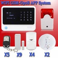 Бесплатная доставка GPRS WIFI сигнализация Беспроводной gsm сигнализация с ip-камеры, APP контролируемых умный дом Безопасности охранной сигнализация