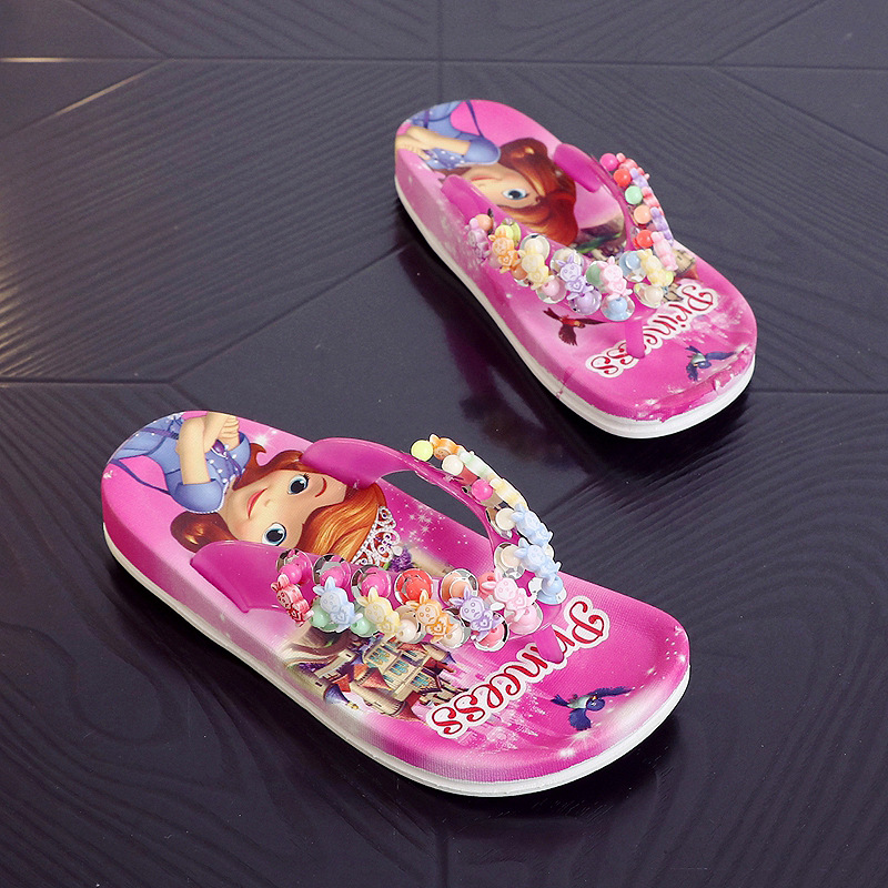 13cd1362c44ee Children Girls Summer Princess PVC Beach Slippers Soft Cartoon Fashion  Lovely Beading Non-slip Flip