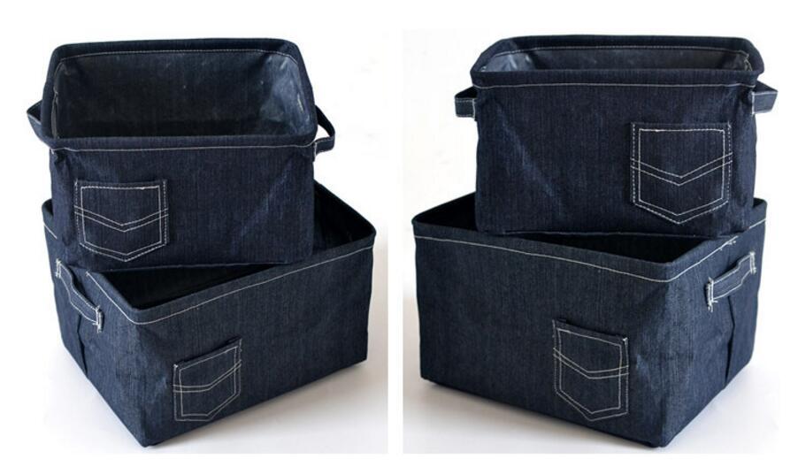 The New cowboy cloth Home decoration Laundry Hamper Foldable Desktop storage basket Makeup box Bag Kids Toy Storage Buckets