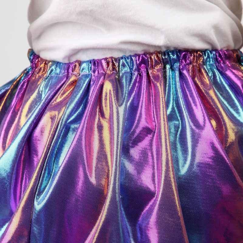 Для девочек, для балета танцевальная рейв голограмма полосатая Радужная юбка-пачка со складками оборками Блеск Хэллоуин вечерние Pettiskirt От 2 до 9 лет