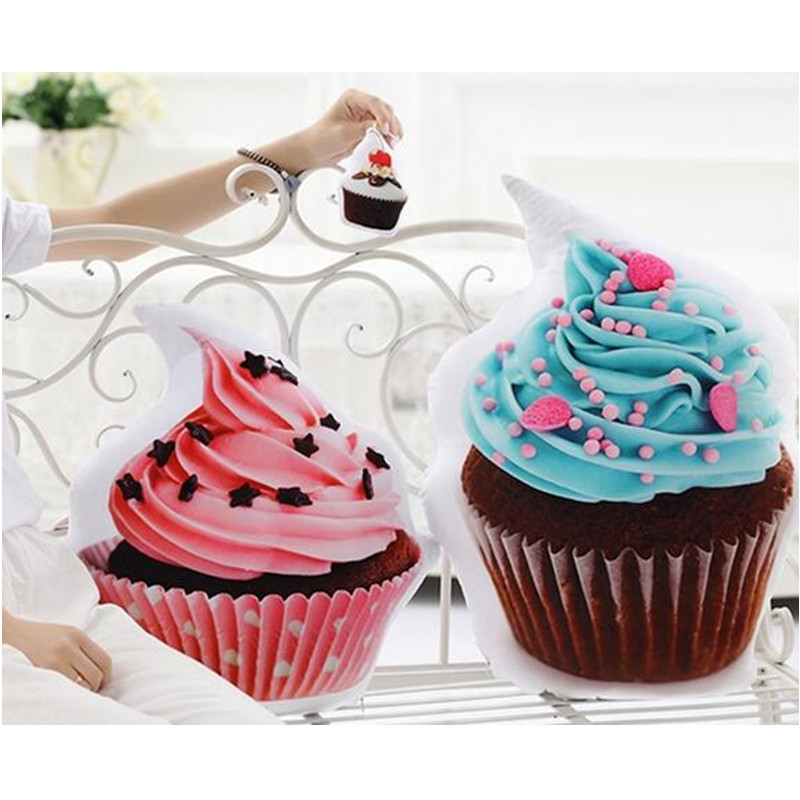 3D Printed Cupcake Pendant Cushion Donut Chocolate Cake Pillow Home Room Decorations Children Kids Girls Boys