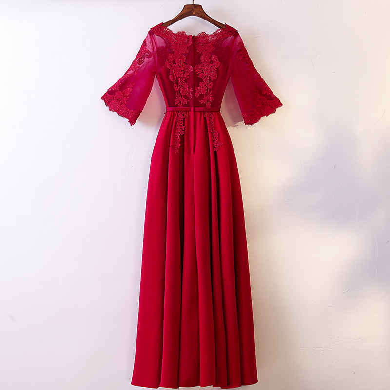 Excellent Real Image Illusion Red Deep Scoop Appliques See ThroughFull-Length Custom-Made Zipper Up   Bridesmaid     Dresses