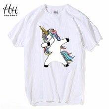 HanHent medvilnė atsitiktinis marškinėliai vyrukai juokingi vienaragis spausdinti marškinėliai mielas animacinis filmas pandos marškinėliai vasaros mados viršūnės balta didelis dydis 2xl