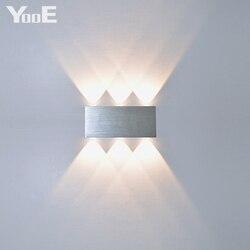 YooE Крытый 2 Вт 4 Вт 6 Вт 8 Вт светодиодный настенный светильник AC100V/220 В алюминиевый декоративный настенный светильник для спальни светодиодны...