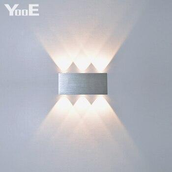Yooe interior 2 w 4 6 8 lâmpadas de parede led ac100v/220 v alumínio decorar arandela quarto conduziu a luz da parede