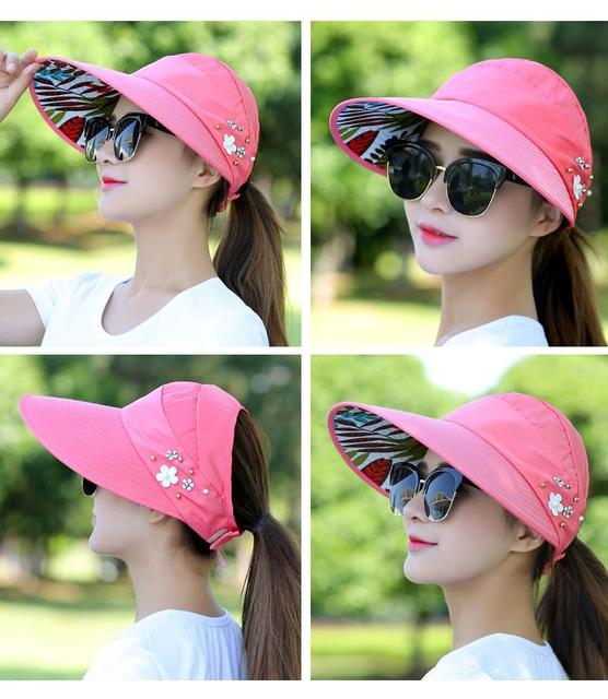2018 New simple women summer beach Sun Hats pearl packable sun visor hat with big heads wide brim UV protection female cap 2