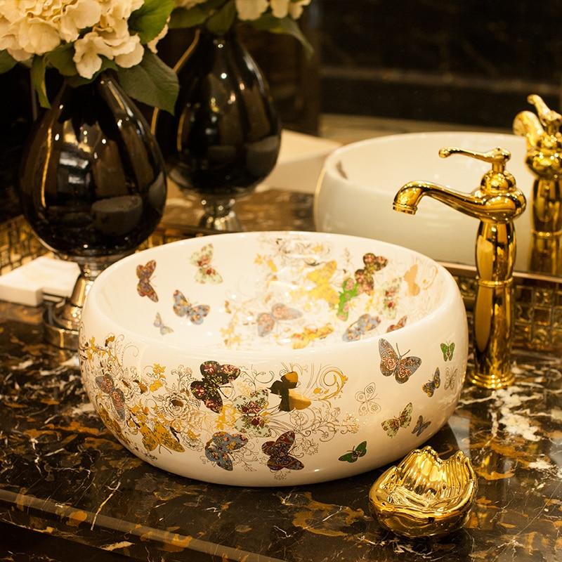 Butterfly pattern porcelain bathroom vanity bathroom sink bowl countertop Oval Ceramic wash basin bathroom sink