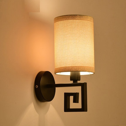 Simple Chinese Style Vintage Wall Sconces Fabric LED Wall Light Fixtures Balcony Aisle Home Indoor Lighting Bedside Wall Lamp цена