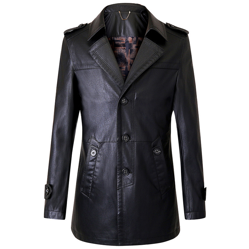 European Country Style Fashion Mens Leather Trench Coats