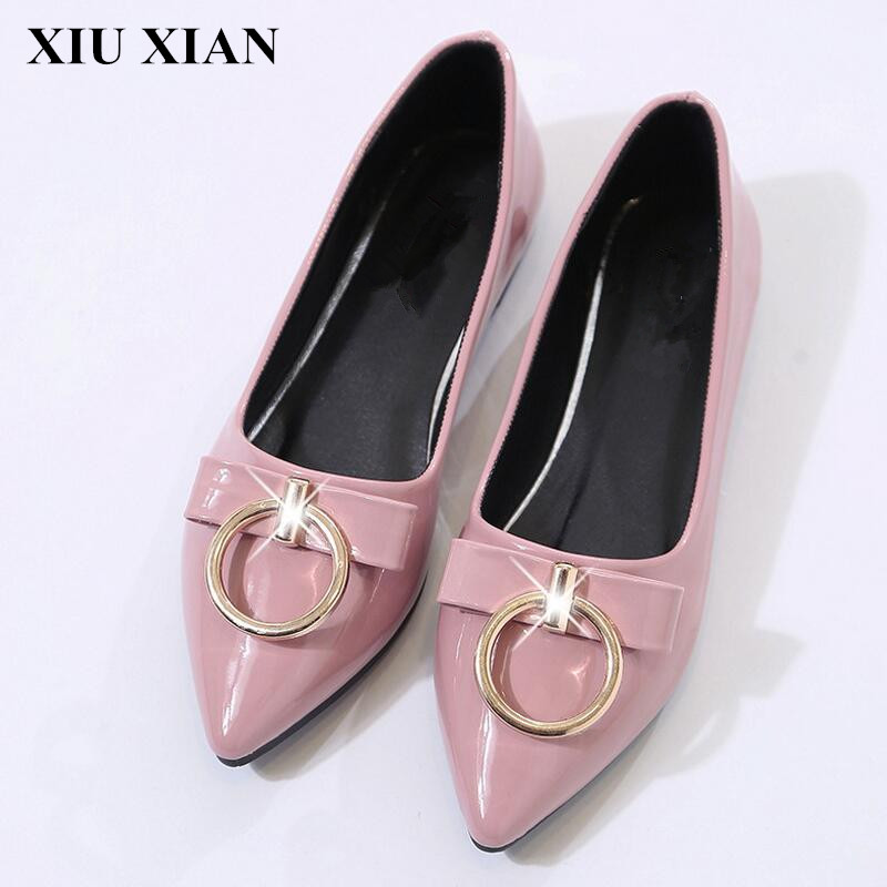 New Spring Autumn Pink Pointed Toe Slip-On Flat Shoes Korean Low Heel Ballet Flat Women Metal Decoration Mary Jane Zapatos Mujer spring summer women leather flat shoes 2017 sweet bowtie flats women shoes pointed toe slip on ladies shoes low heel shoes pink