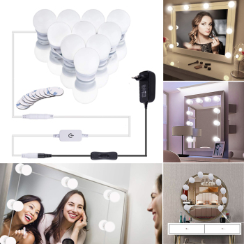 LED Makeup Light kit,6/10/14/16Touch Dimmable Mirror Bulbs, Hollywood Vanity Lighting lights for Wall,Dressing table bathroom 2