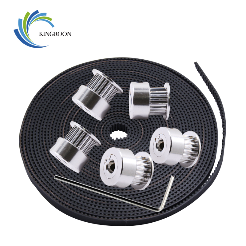 KINGROON 3D Printer Parts Kit 5PCS 20 Teeth Width 6mm Bore 5mm Timing Pulleys+1PC 5m GT2 Width 6mm Timing Belt+1PC 2mm Wrench 2