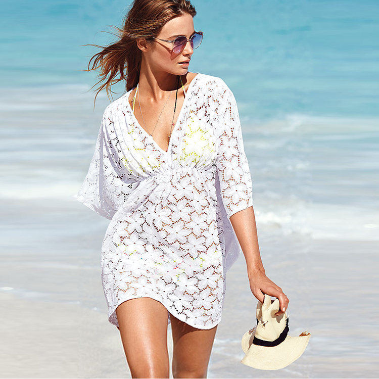 1a2bc739ce Summer style Women Pareo Swimsuit Cover Up Sexy Bathing Suit Cover Ups White  Lace Crochet Beach Cover Up Dress Beach Wear
