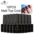 Saviland 12pcs Matte Top Coat UV Gel Polish Cleaning Matt Top Coat Nail Art Tips Dull Finish Long Lasting Gel Lacquer