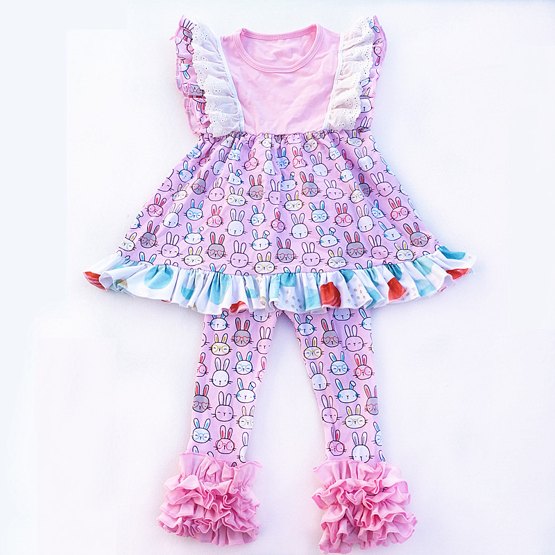 2018 newest boutique kids remake bunny outfits clothes baby girls Easter custom children clothing set