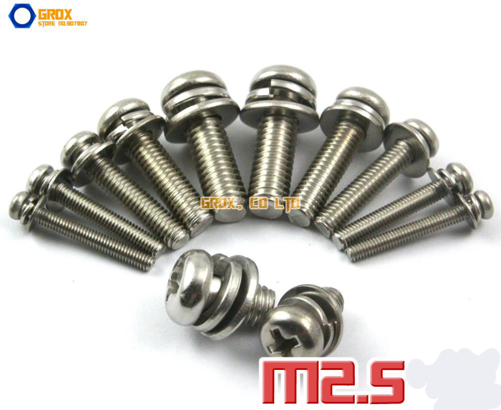 M2.5 304 Stainless Steel Phillips Pan Head Machine Screw with Washer / Assembled Screw m6 hex socket small pan button head screw plain and spring washer assemblies stainless steel machine screw diy repair