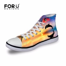 FORUDESIGNS High-top Flats Casual Shoes for Student Girls,Stylish Animal Printed Classic Canvas Shoes,Women's Vulcanization Shoe