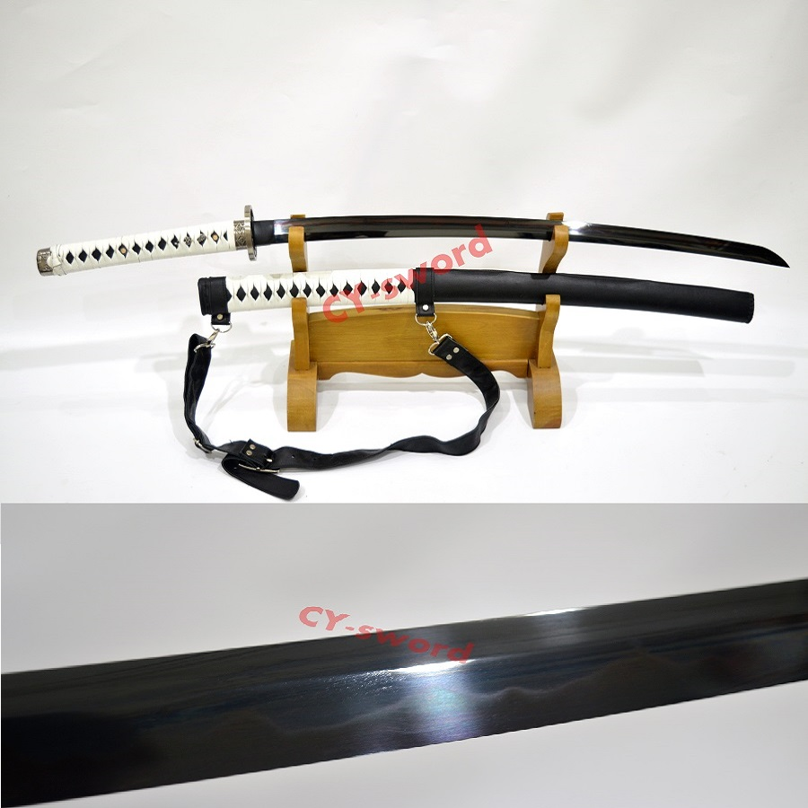 Ler hærdet T-10 stål Walking Dead Katana-Michonne's Sword ZOMBIE Killer Battle Ready