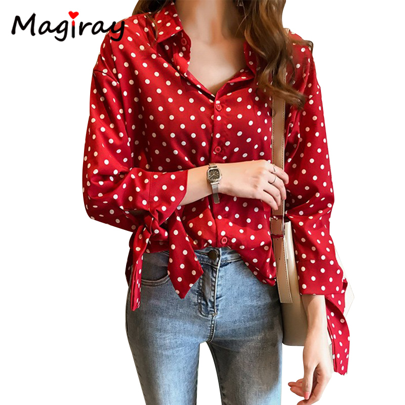 Magiray Harajuku Dot Print Women Chiffon Blouse Knot Bow Tie Korean Female Collared Lady Tops Plus Size Autumn Red Shirt C412 1