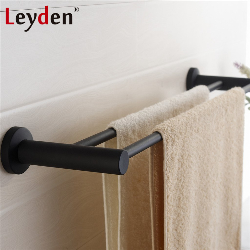 Leyden 304SUS Stainless Steel Double Towel Holder Round Modern Towel Rail Wall Mounted Black Towel Bar Rack Bathroom Accessories towel racks wall mounted bathroom towel double stainless steel rail holder shelf storage rack bar bathroom tools