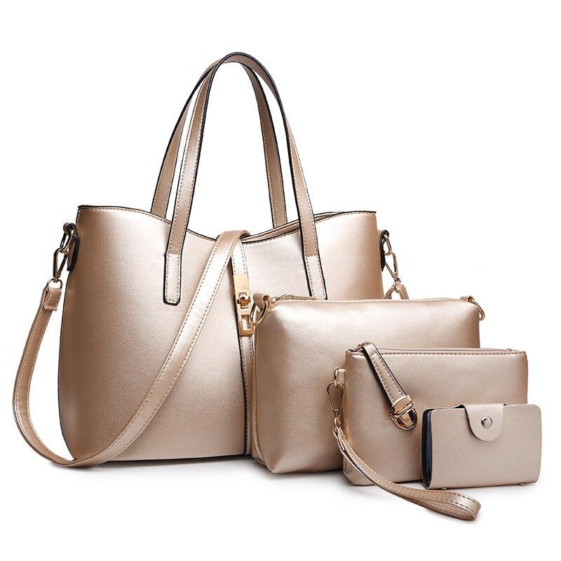 Nouveau 4 pièces/ensemble femmes en cuir sac à main ensemble sacs grand vintage sac à bandoulière femme mode composite décontracté fourre-tout sac à main