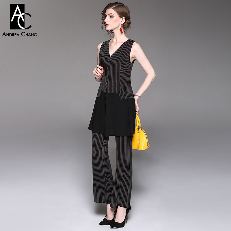 spring autumn woman outfit white strip pattern gray black outfit long vest loose pants two-piece outfit casual office pantsuit